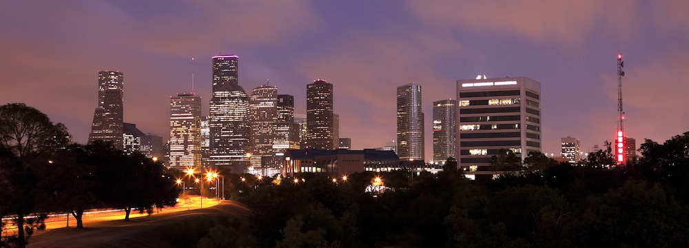 Houston Skyline at Night with Beautifully Lighted Pink Clouds, Texas, USA ** Note: Slight graininess, best at smaller sizes