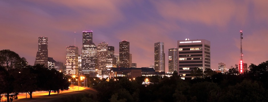 Houston Skyline at Night with Beautifully Lighted Pink Clouds, Texas, USA