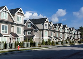 A row of a new townhouses in Richmond British Columbia