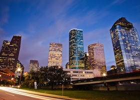 East side of Down Town Houston, just after sunset.